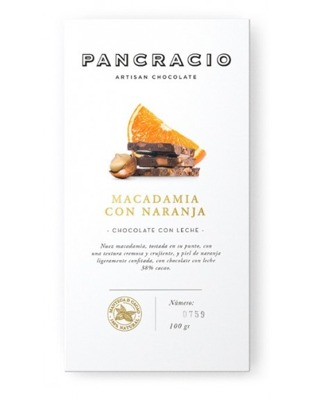 Tablette de chocolat - macadamia à l'orange