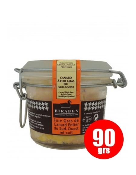 Whole duck foie gras mi-cuit, 90 gr. Biraben